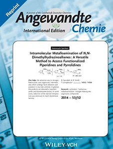 The cover of Angewandte Chemie International Edition, a Reprint, depicting intramolecular metalloamination. 17 December, 2014, Volume 53, Issue 52.