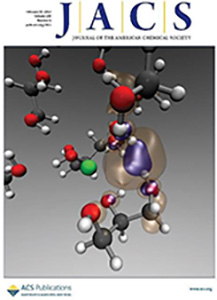 The cover of Journal of the American Chemical Society, depicitng a simulation snapshot of Na interacting with glycerol. February 26, 2014, Volume 136, Issue 8.