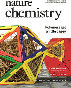 The cover of Nature Chemistry, shows a schematic representation of interaction inside protein cages. Polymers get a little cagey. October 2012, Volume 4, Issue 10.