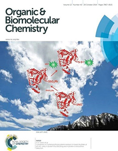 The cover of Organic & Biomolecular Chemistry, depicting the conversion of residues to mixed disulfides over a picture of a cloudy sky.  28 October 2014, Volume 12, Number 40, Pages 7867-8101.