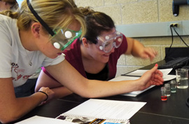 Students working on a lab project.